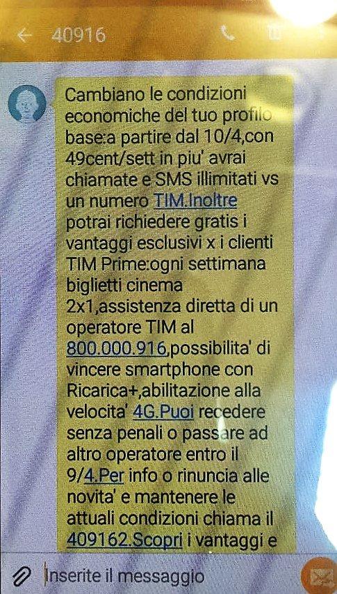 SMS CAMBIO TARIFFA TIM